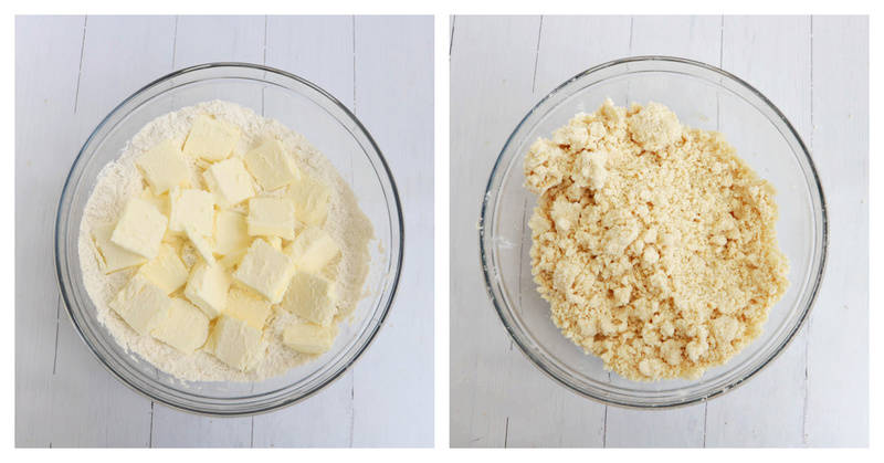 mixing cold butter in with the dry ingredients