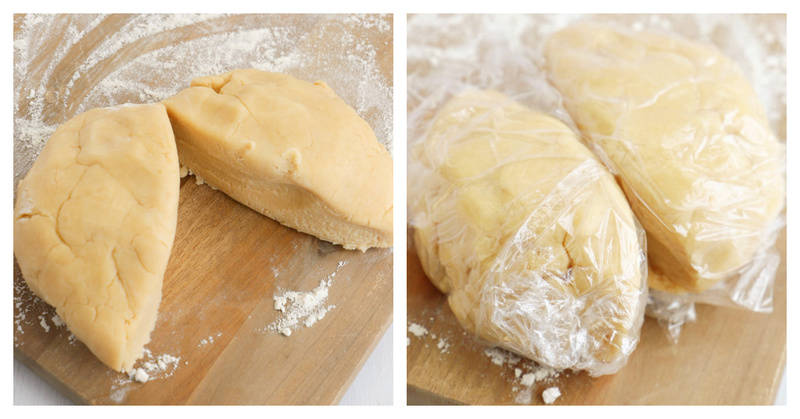 cut your pie dough in two equal halves for the top and bottom crust