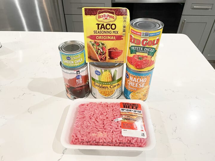 ingredients for beef nacho soup
