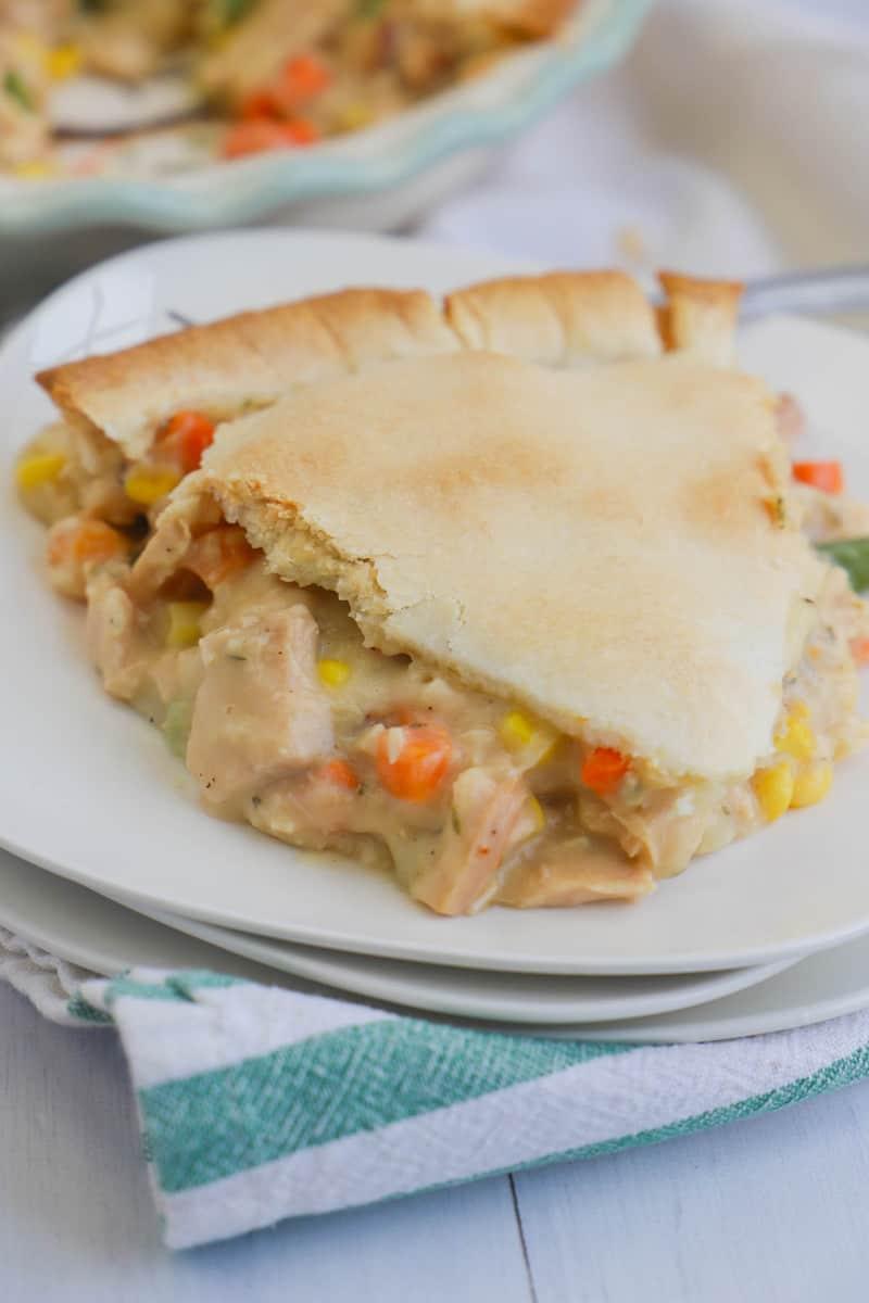 Turkey Pot Pie on stacked white plates