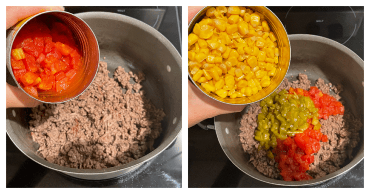 cooking ground beef then adding remaining ingredients